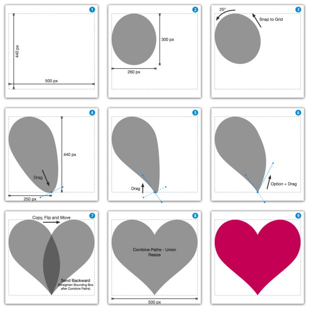 iDrawでのハートの描き方 (How to make a heart shape in iDraw - w/o Illustrator)